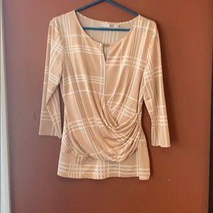 NY & Co light peach copper and white blouse sz L